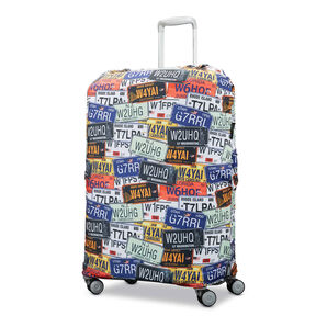 Printed Luggage Cover - M in the color License Plate.