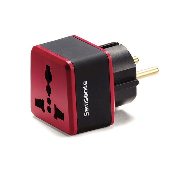 Samsonite Europe/Middle East Grounded Adapter Plug in the color Black/Red.