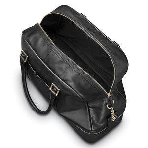 Ladies Leather Zip Weekender in the color Black.