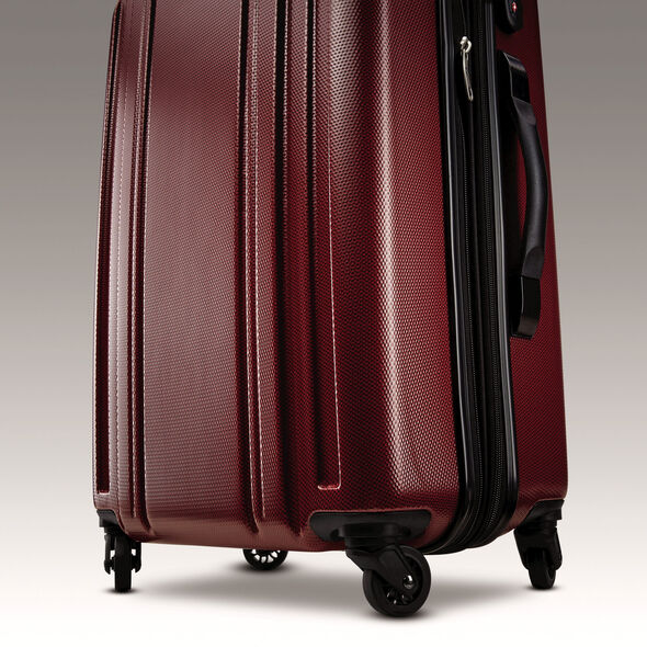 "Samsonite Carbon 2 20"" Spinner in the color Red."