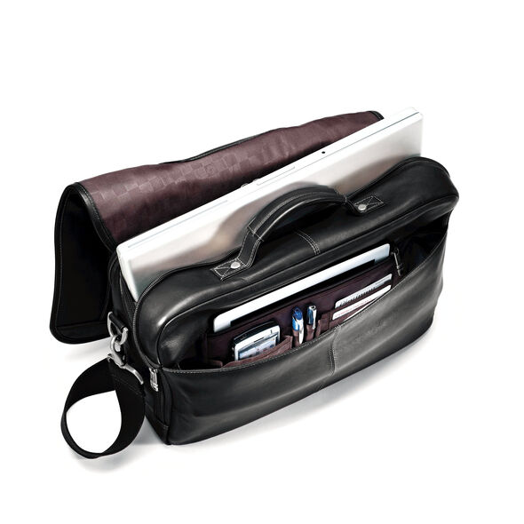 Samsonite Colombian Leather Flapover Briefcase in the color Black. 8a7a94cd6fbca