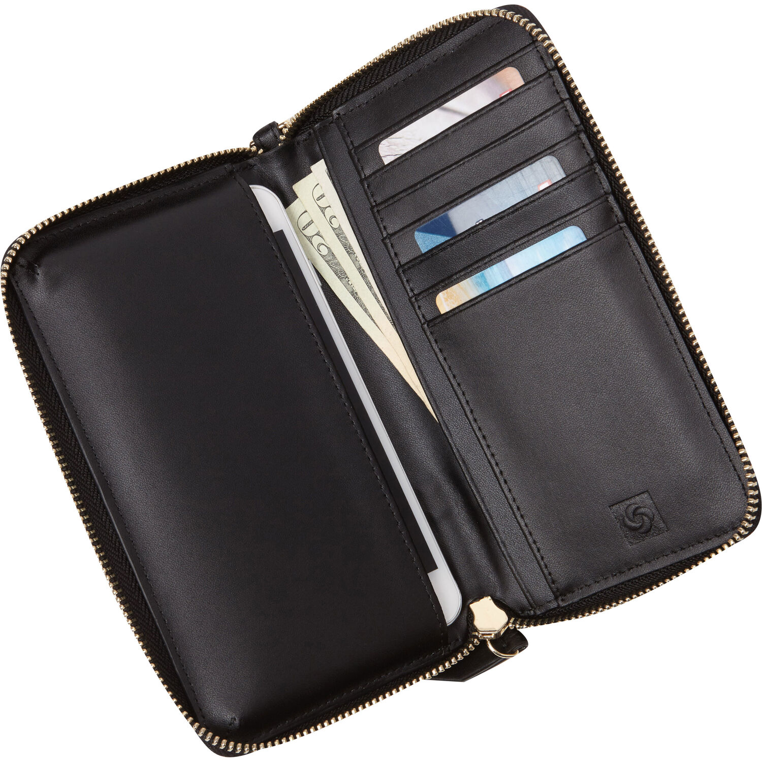 123a29a4b Samsonite Ladies Leather Zip Tech Wristlet in the color Black.