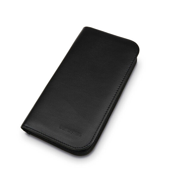 Zip Close Travel Wallet in the color Black.
