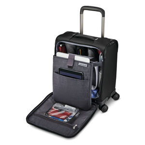 Samsonite Silhouette 16 Underseat Carry-On Spinner in the color Obsidian Black.