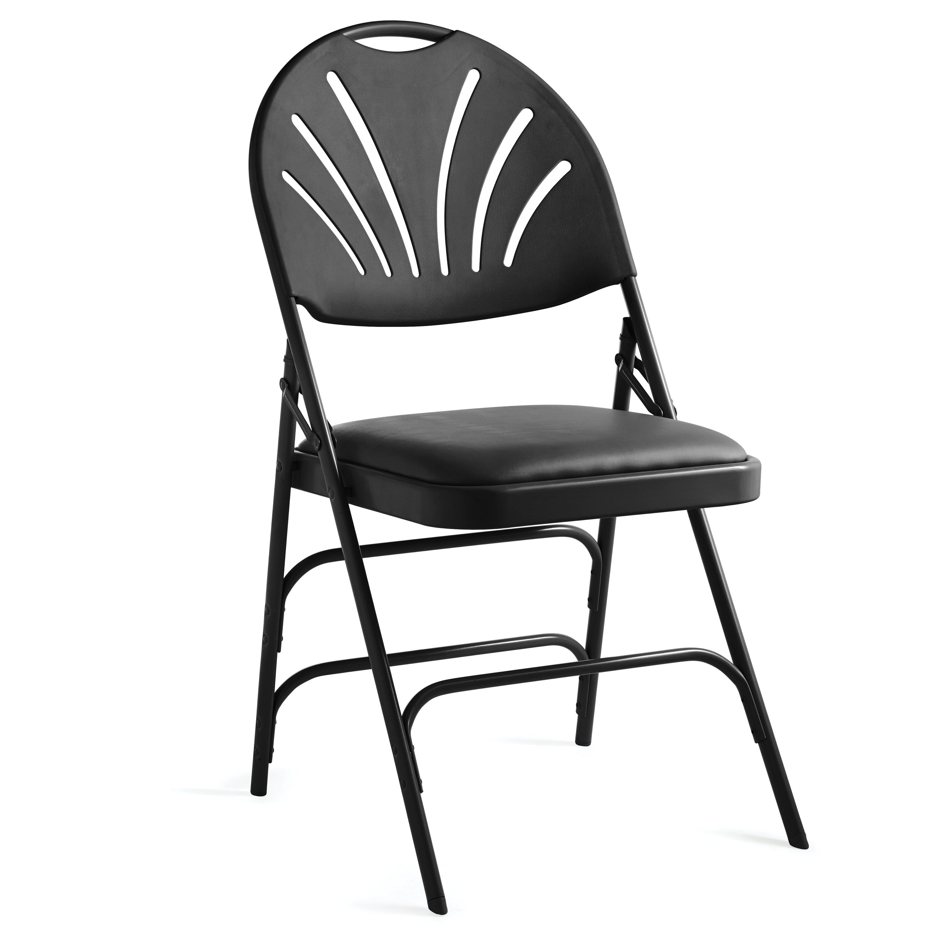 Samsonite XL Fanback Steel U0026 Vinyl Folding Chair (Case/4) In The Color  Black.