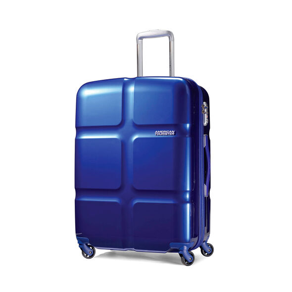 """American Tourister Cube Pop 20"""" Spinner in the color Blue."""