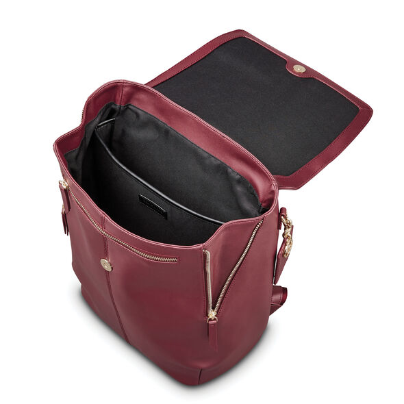 Samsonite Ladies Leather Hamptons Backpack in the color Sangria.