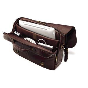 Leather Flapover Case Double Gusset in the color Brown.