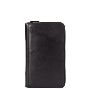 Leather Zip Travel Wallet in the color Black.