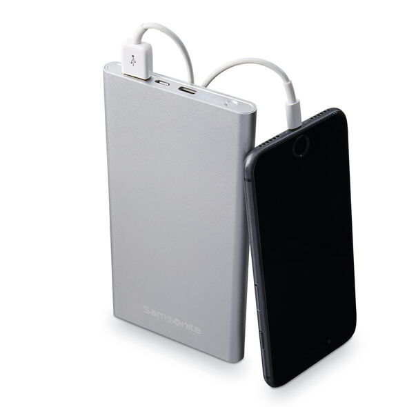 Samsonite 10000mAh Portable Battery in the color Aluminum Silver.