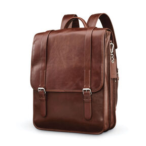 Samsonite Mens Leather 1910 Heritage Backpack In The Color Chestnut