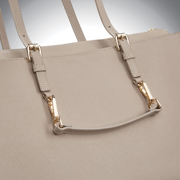 Samsonite Ladies Leather N/S Tote in the color Light Grey.