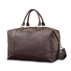 Samsonite Mens Leather Classic Weekender In The Color Dark Brown