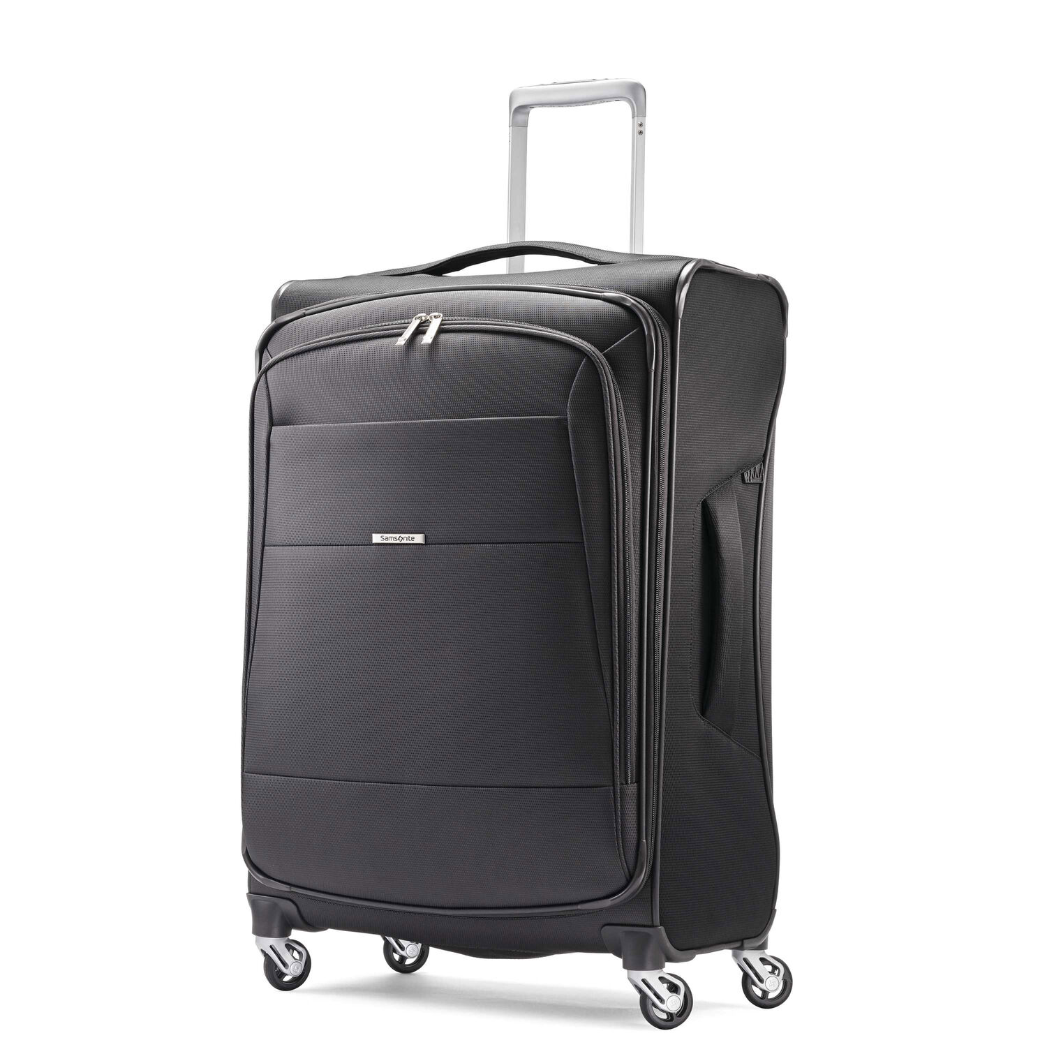 "Samsonite Eco-Nu 25"" Expandable Spinner in the color Granite/Midnight Black."