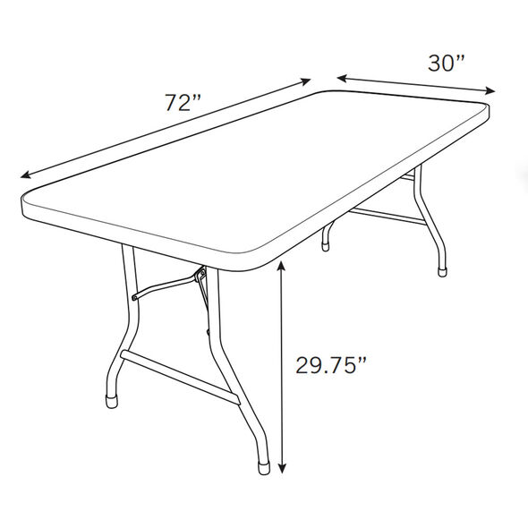 Samsonite 7700 Series Rectangle 6' Blow Mold Folding Table in the color Grey.