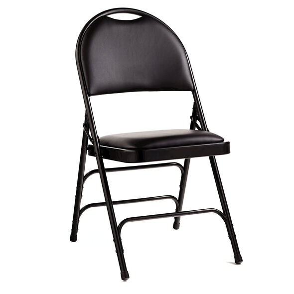 Samsonite Steel & Bonded Leather Folding Chair  (Case/4) in the color Black.