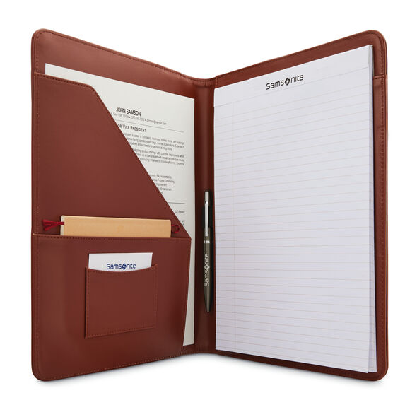 Samsonite Leather Business Portfolio in the color Saddle.