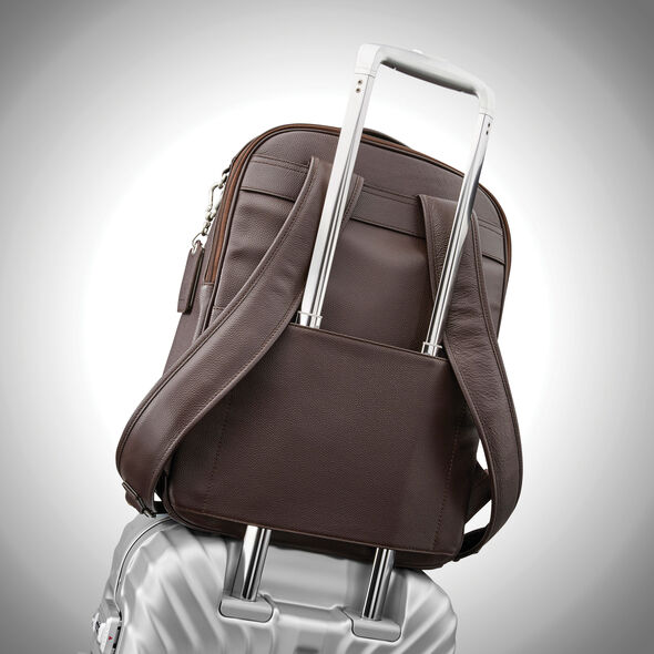 Samsonite Mens Leather Classic Traditional Backpack in the color Dark Brown.