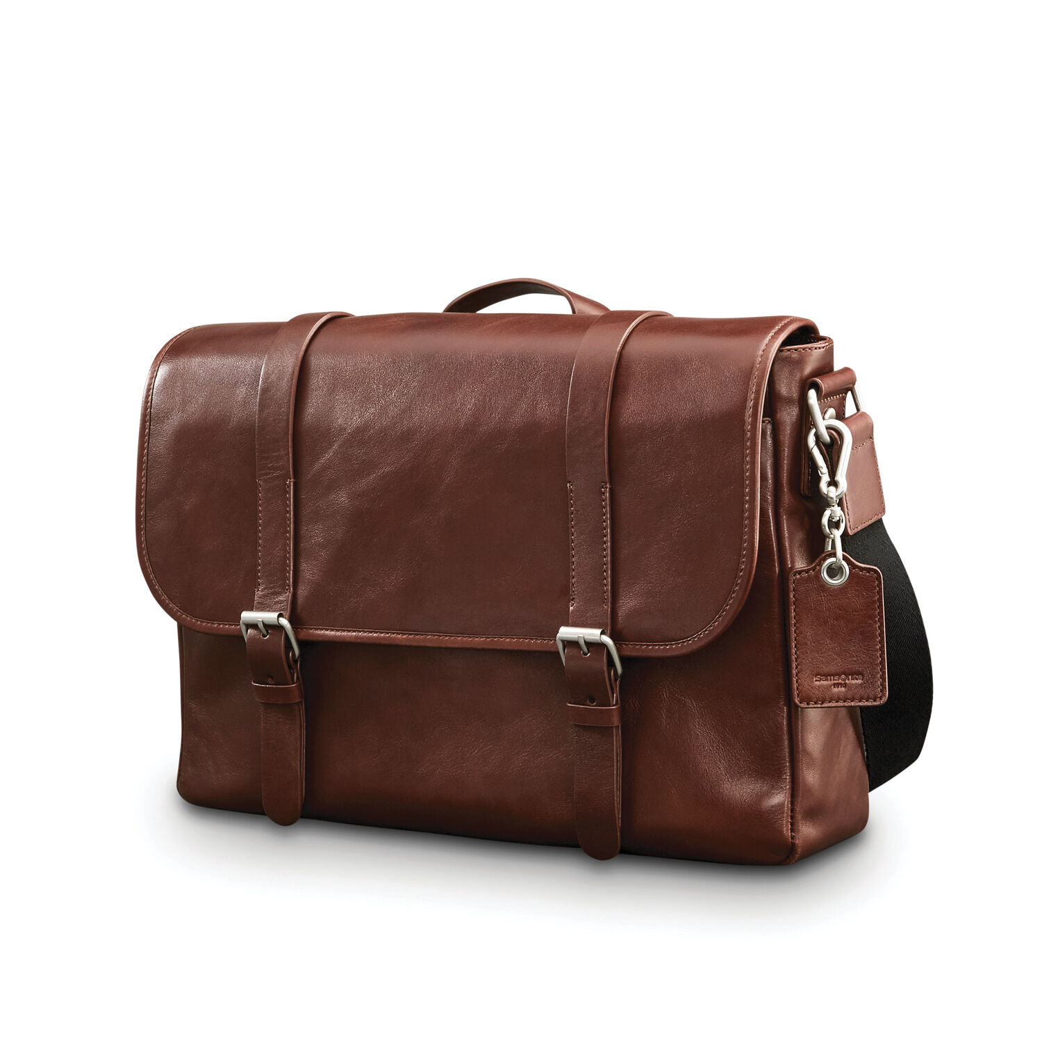 Samsonite Mens Leather 1910 Heritage Messenger in the color Chestnut.
