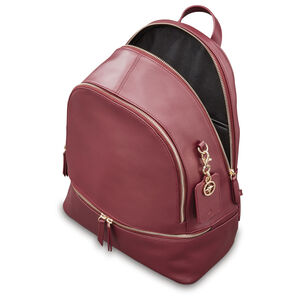 Ladies Leather City Backpack in the color Sangria.