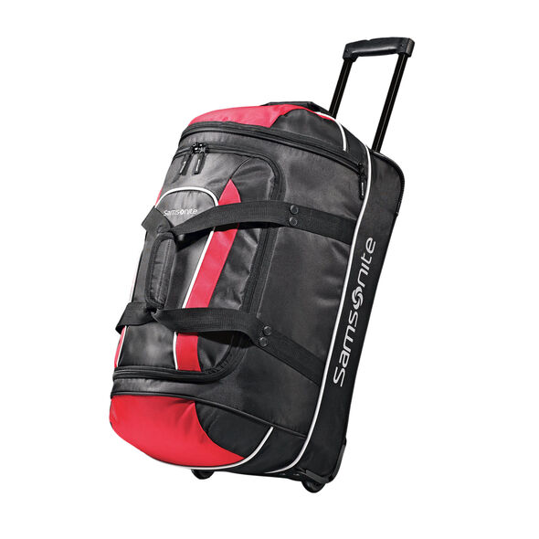 """Samsonite Andante 22"""" Wheeled Duffle in the color Black/Red."""