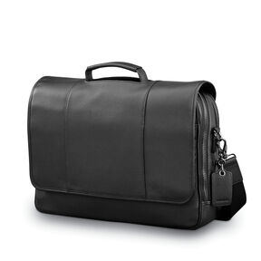 Samsonite Mens Leather Classic Flap Briefcase in the color Black.