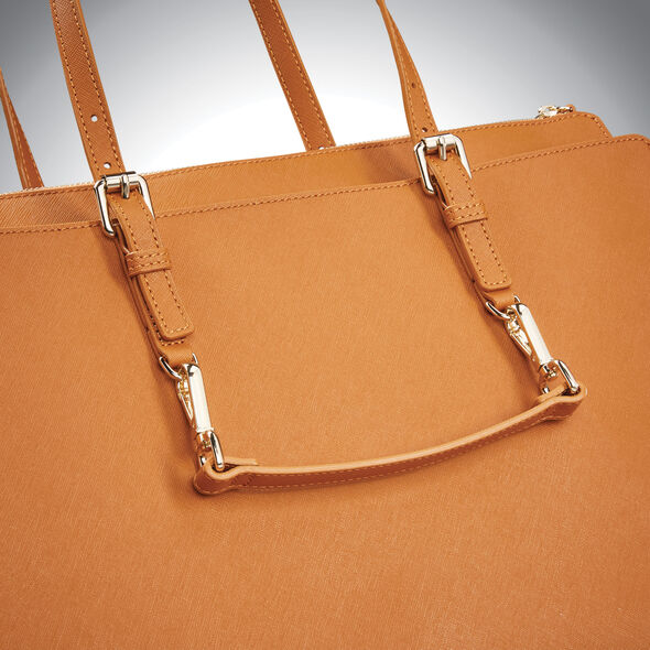 Samsonite Ladies Leather N/S Tote in the color Cognac.