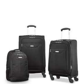 "Samsonite Tenacity 3 Piece Luggage Set - Black, Blue, 25"", 21"", Backpack in the color Black."