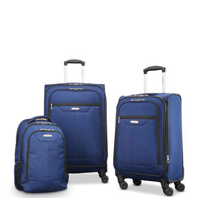 "Samsonite Tenacity 3 Piece Luggage Set - Black, Blue, 25"", 21"", Backpack in the color Poseidon Blue."