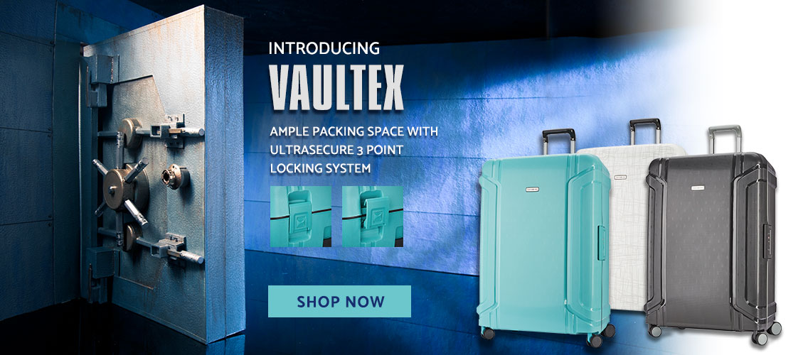Introducing Samsonite's Vaultex Collection- Ample packing space with ultrasecure 3-point locking system.. Shop Now.