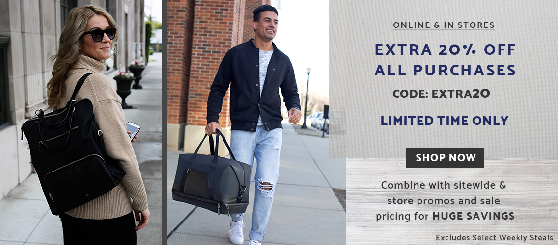 Extra 20% off all purchases by entering code EXTRA20 at checkout. Combine this code with the sitewide SAVE to see huge savings. Some exclusions apply. Valid until April 22, 2019. Click here to shop now!.