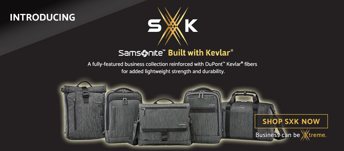 Introducing Samsonite's SxK Collection- Samsonite Built with Dupont™Kevlar®. A fully-featured business collection reinforced with Dupont™Kevlar® fibers for added lightweight strength and durability. Click Here to Shop Now.