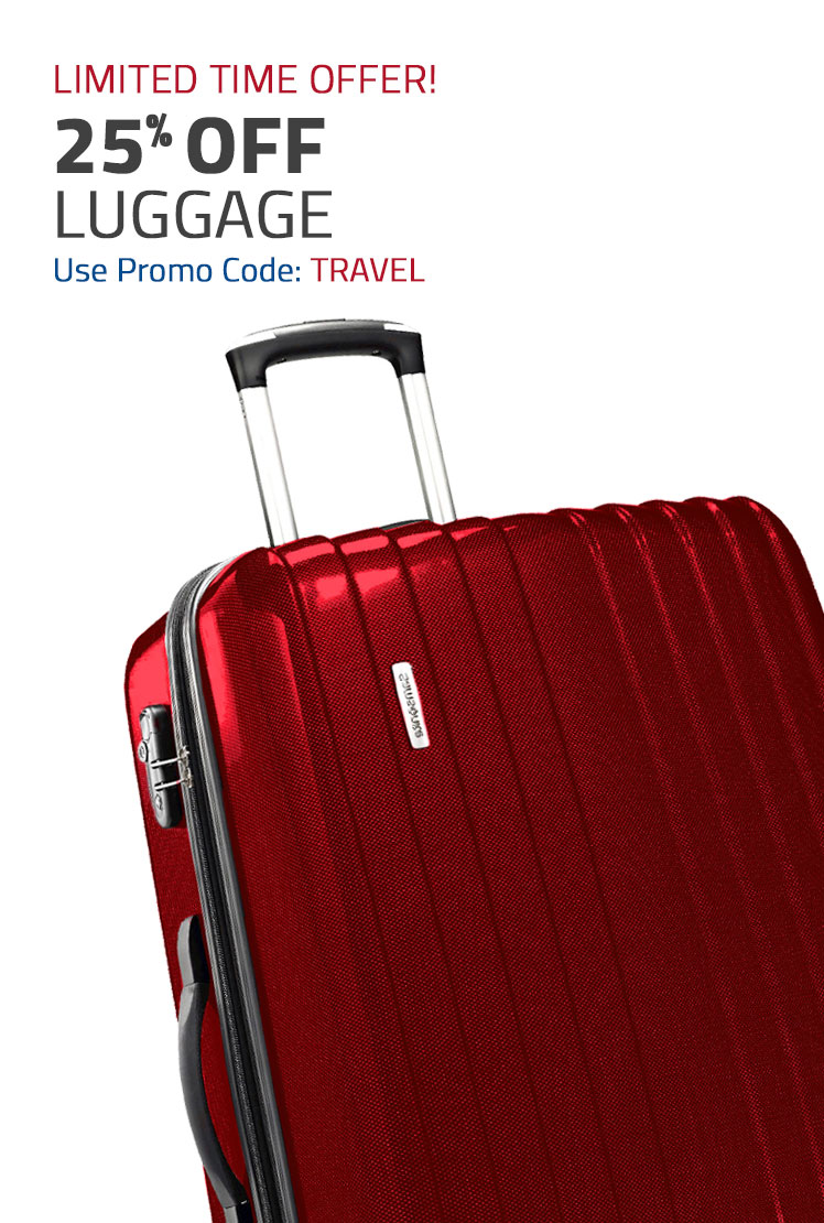 Limited Time Offer! 25% Off Luggage - Use Promo Code: SAM20. Shop Now.