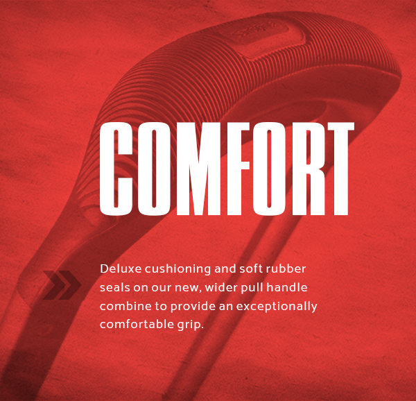 Samsonite Silhouette XV - Comfort. Deluxe cushioning and soft rubber seals on our new, wider pull handle combine to provide an exceptionally comfortable grip.