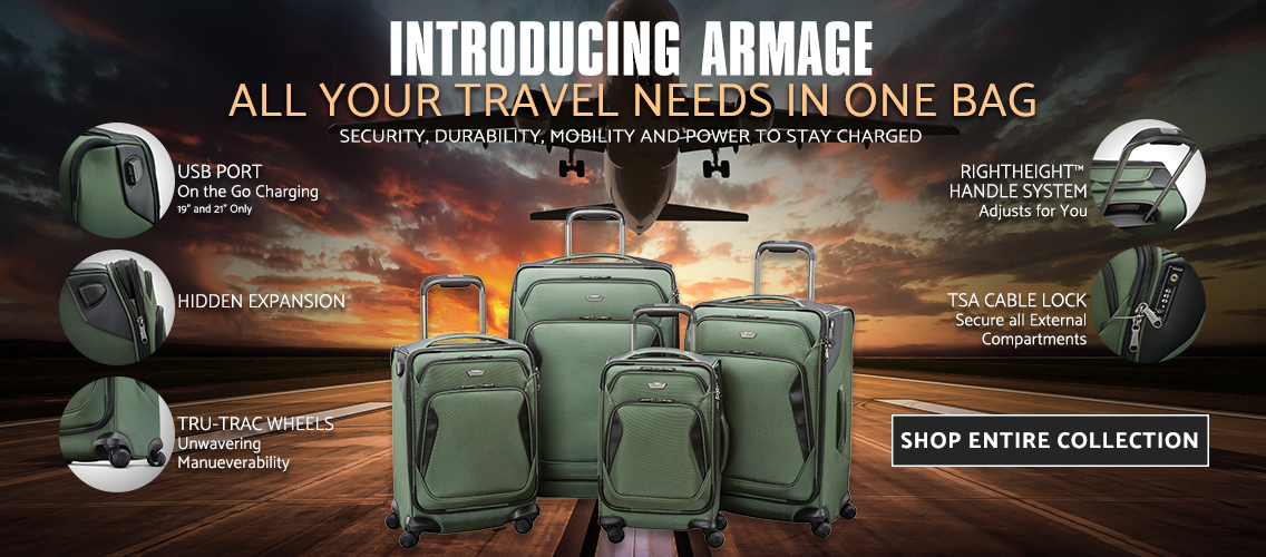 Introducing the Samsonite Armage Collection. All your Travel Needs in One Bag. Security, Durability, Mobility and Power to Stay Charged. Shop the Collection Now.