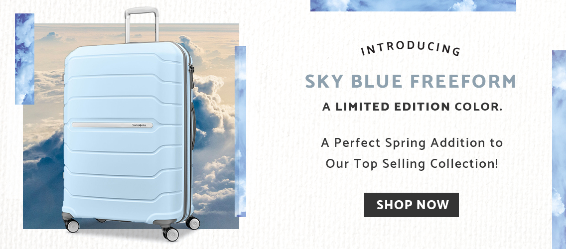 timeless design b9d63 5981e ... Samsonite Freeform Collection - Introducing Light Blue Freeform! Click  here to shop now.