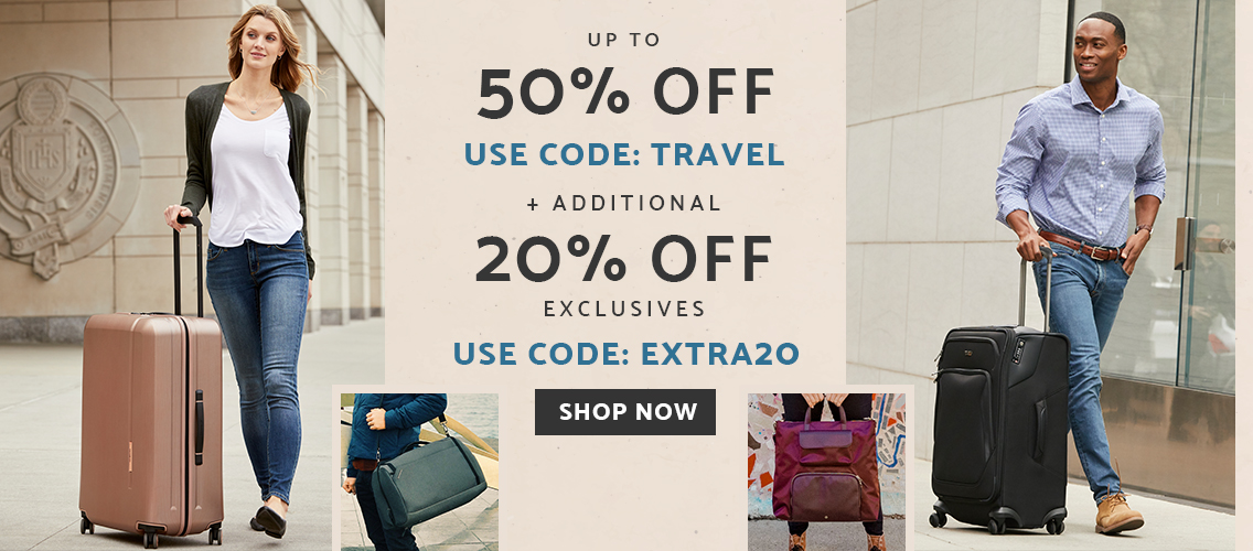 Up to 50% off most items plus an extra 20% off exclusive styles. Use codes TRAVEL and EXTRA20 at checkout. Click here to shop now!