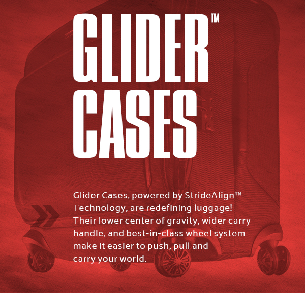 Samsonite Silhouette XV - Glider™ Cases. Glider™ Cases powered by StrideAlign™ Technology, are redefining luggage! Their lower center of gravity, wider carry handle, and bes-in-class wheel system make it easier to push, pull and carry your world.