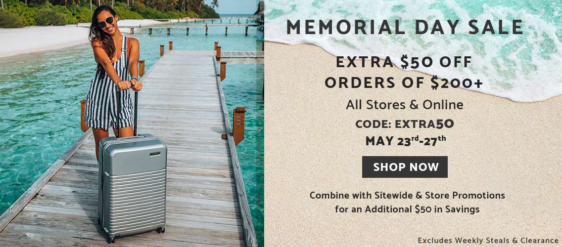 Samsonite Memorial Day Sale Online & In Stores. Up to 50% off most items plus extra $50 off orders of $200 or more. Enter codes MAYSALE and EXTRA50 at checkout. Excludes Weekly Steals and Clearance styles. Ends May 27, 2019. Click here to shop now!