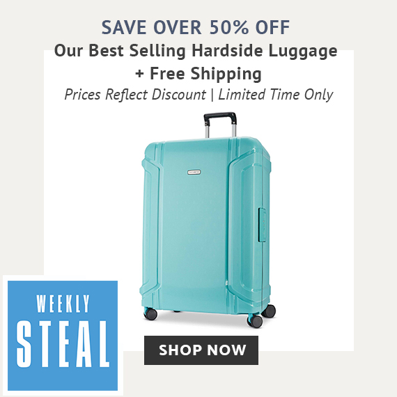 Weekly Steal Limited Time Offer on our best selling hardside luggage. Receive any of our best selling harside luggage marked down over 50% off plus free shipping with puchase. No promo code needed, prices reflect discount. Free shipping is automatically applied at checkout. Click here to show now while supplies last only on shop.samsonite.com