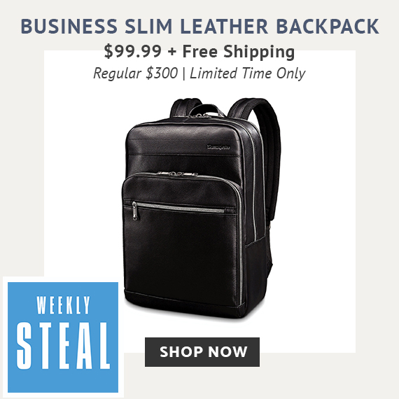 Weekly Steal Limited Time Offer! Receive the Business Leather Slim Backpack for only $99.99 plus free standard shipping. No code needed, prices reflect discount. Free shipping is automatically applied at checkout. Click here to shop now while supplies last!