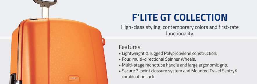 Samsonite F'Lite GT Collection - High-class styling, contemporary colors and first-rate functionality. Shop Now.
