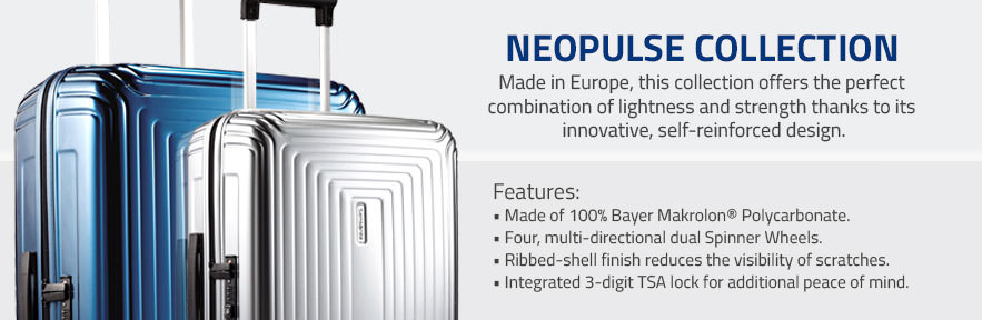 Introducing Samsonite's NeoPulse Collection. Made in Europe, this collection offers the perfect  combination of lightness and strength thanks to its  innovative, self-reinforced design. Shop Now.