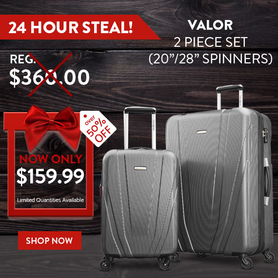 24 Hour Steal Valor 2 Piece Set, only $159.99 plus FREE standard. No Code Needed. Limited time While Supplies Last. Only on shop.samsonite.com. Shop Now.