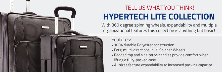 Samsonite Hypertech Lite Collection - With 360 degree spinning wheels, expandability and multiple organizational features this collection is anything but basic! Shop Now.