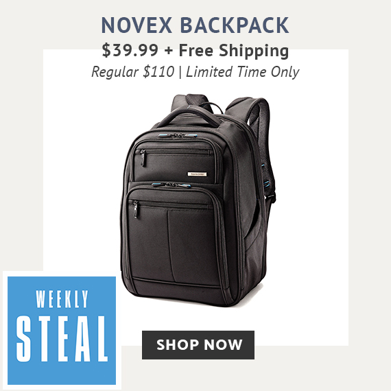 Limited time offer, Weekly Steal Special Pricing for Novex Business Backpack, for only $39.99. No Code needed. Plus Free Standard Shipping. Click Here To Shop Now!