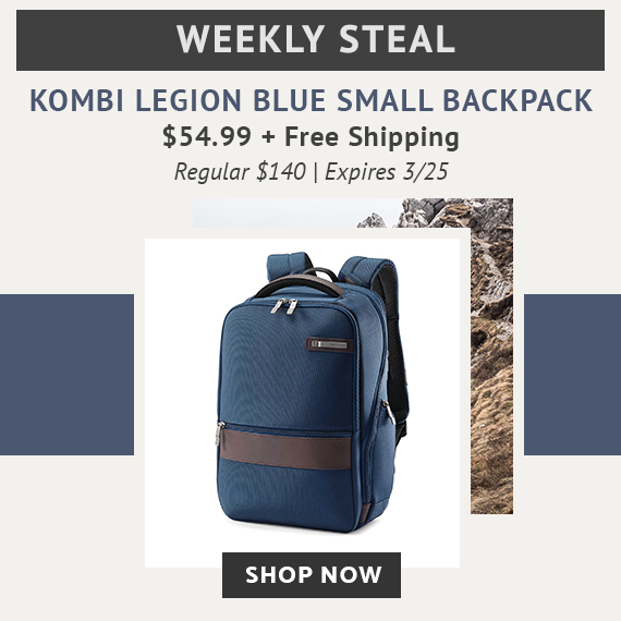 Limited time offer, Weekly Steal Special Pricing on Kombi Small Backpack in Legion Blue for only $54.99. No Code needed. Plus Free Standard Shipping. Click Here To Shop Now!