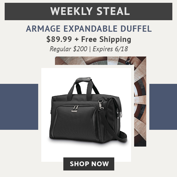 Limited Time Only - Weekly Steal - Armage Expandable Weekender for only $89.99. No code necessarty, prices reflect discount. Plus free standard shipping. Click here to shop now while supplies last!