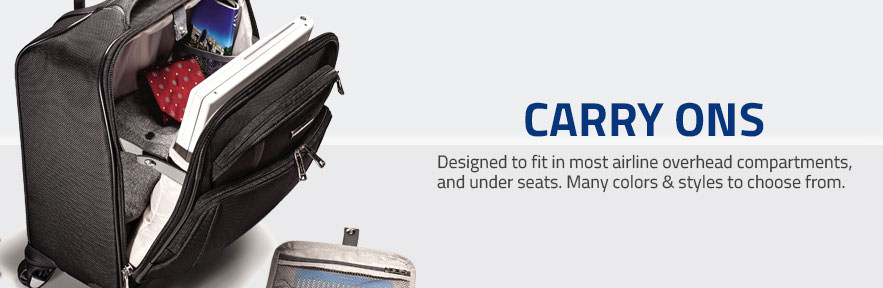 Samsonite Carry on Luggage. Designed to fit in most airline overhead compartments and under seats. Many colors and styles to choose from.